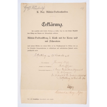 Rudolf Hess WW1 Medal Document